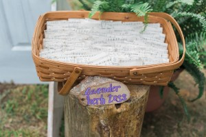 Pouches made from vintage sheet music held lavender to toss. photo credit--Libby McGowan Photography