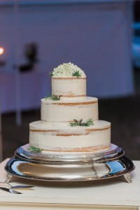 Lavender added the perfect touch to the simple but elegant wedding cake. photo credit--Libby McGowan Photography