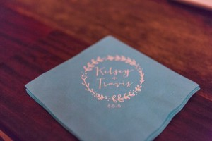 Custom napkins for the bar and lavender lemonade area. photo credit--Libby McGowan Photography