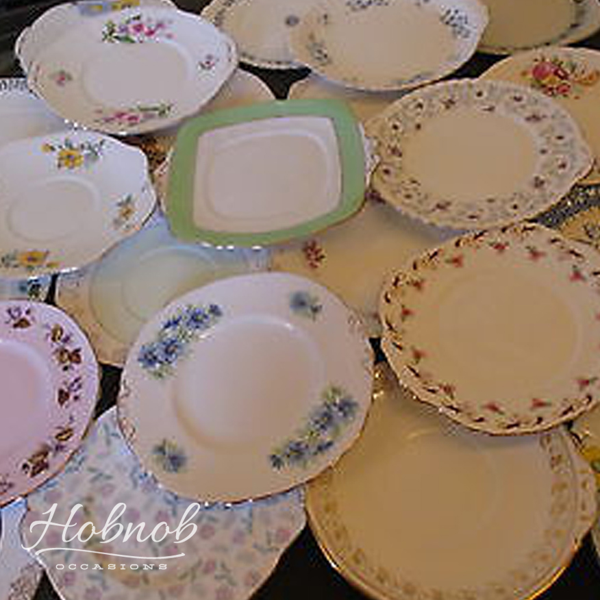 Mismatched Plate Set Bone China Bread and Butter Dishes Rose Side Plates